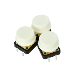 White Button with Round Cover