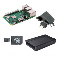 Raspberry Pi 3 Model B + and 2.5 A 5.1 V Power Supply + Black Metalic Case + 16 GB MicroSD Card with Original NOOBs (pack)
