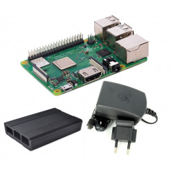 Raspberry Pi 3 Model B + and 2.5 A 5.1 V Power Supply and Black Metalic Case For Raspberry Case (Pack)