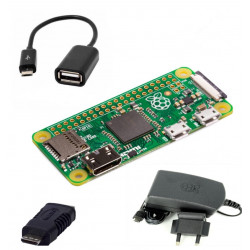 Raspberry Pi Zero + Power Supply + Mini HDMI Adapter + USB OTG Cable