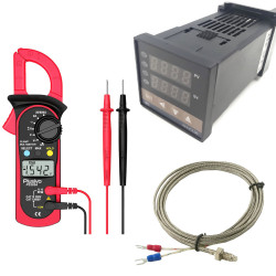 Digital Clampmeter+Temperature Controller (Solid State Relay)+K Type Thermocouple