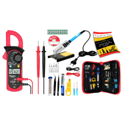 PS202A Digital Clampmeter+Plusivo Soldering Iron Kit for Electronics - EU Plug