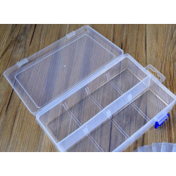 Plastic Box with 8 Compartments and Removable Spacers and Blue Locker (20 x 13.3 x 4.6 cm)