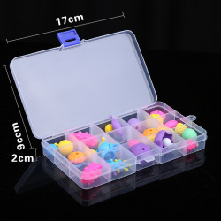 Plastic Box with 10 Compartments (12.8 x 6.5 x 2.3 cm)